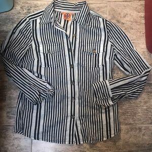 Tory Burch Black & White Stripe Button Up